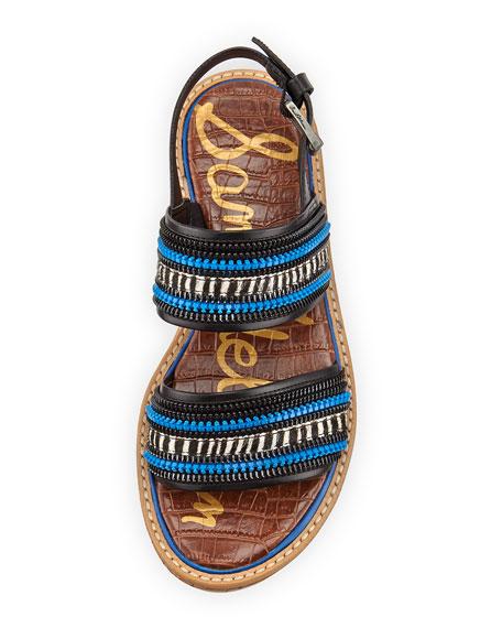 Nala Zipper Striped Sandal, Black