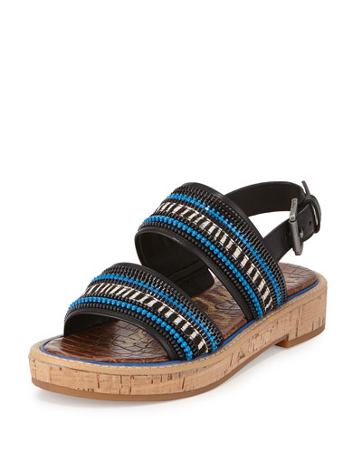 Nala Zipper Striped Sandal, Black