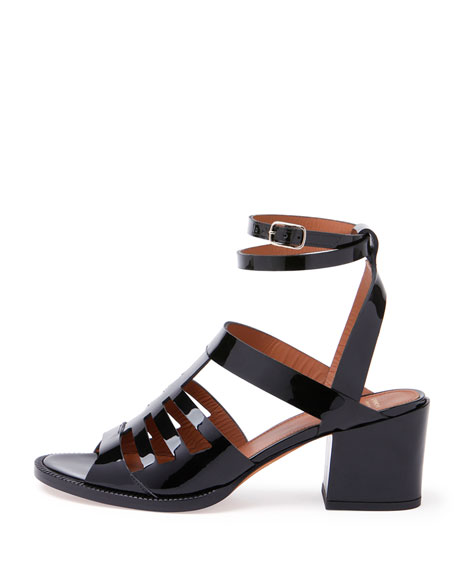 Patent Caged Ankle-Wrap Sandal, Black