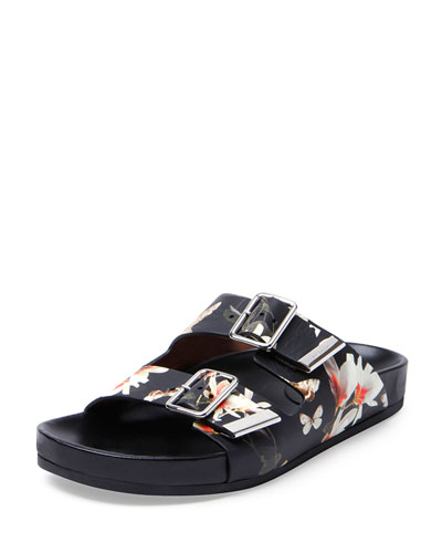 Swiss Floral-Print Double-Buckle Sandal