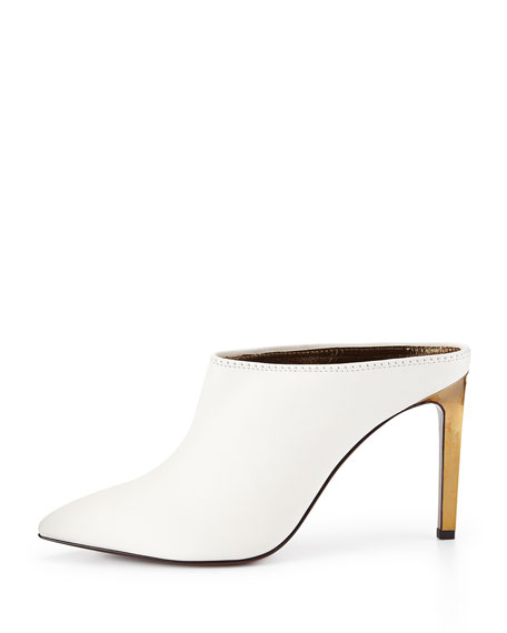 Leather Point-Toe Mule Slide, White