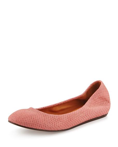 Lanvin Suede Python-Print Ballerina Flat, Pink
