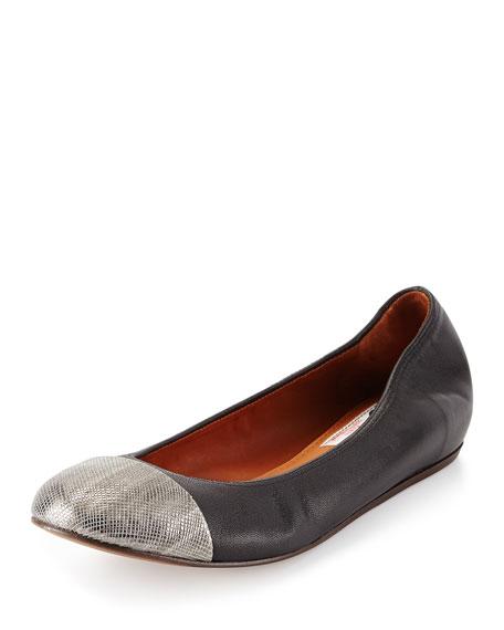 Lanvin Cap-Toe Leather Ballerina Flat, Silver