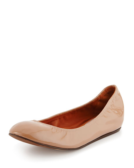 Patent Leather Ballerina Flat, Nude