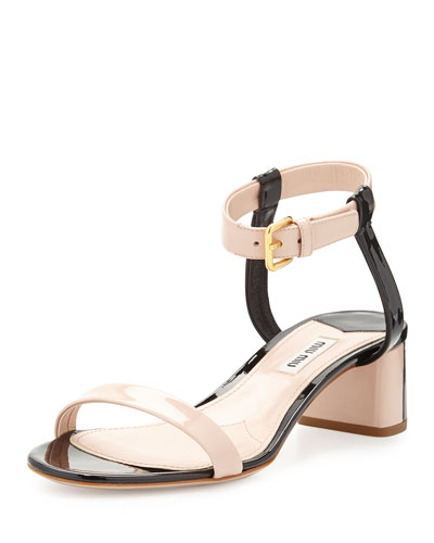 Miu Miu Bicolor Patent Leather Sandal, Nude/Black
