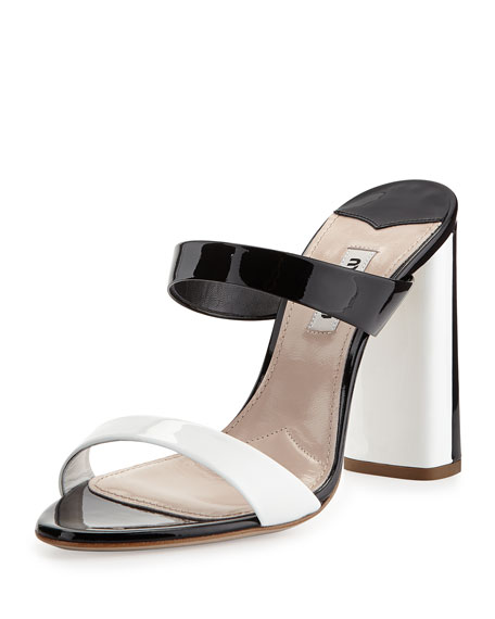 Bicolor Patent Slide Sandal, Nero/Bianco