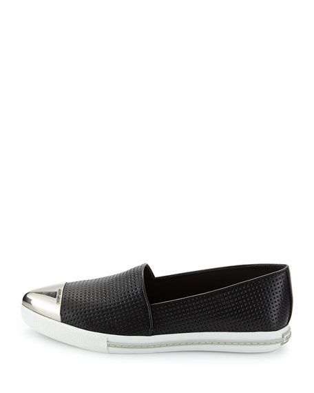 Embossed Leather Cap-Toe Loafer, Nero