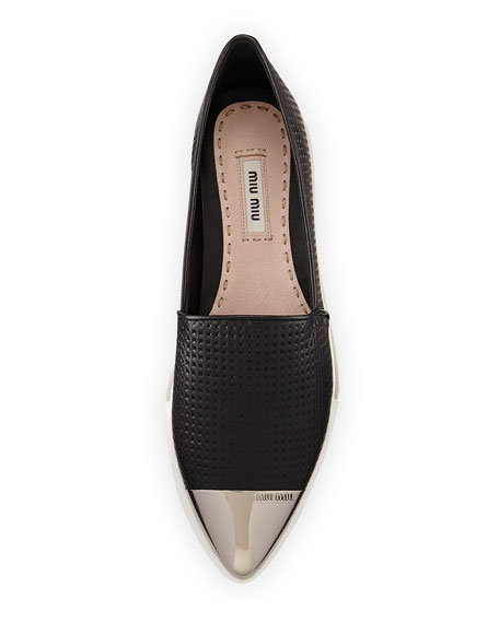 Image 3 of 3: Embossed Leather Cap-Toe Loafer, Nero