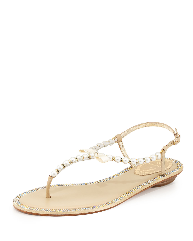 889581f7606fe Rene Caovilla Pearly   Crystal Flat Thong Sandal