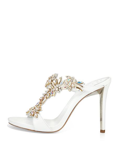 Floral Crystal Slide Sandal, White