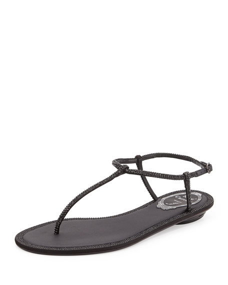 Rene Caovilla Crystal Flat Thong Sandal, Black