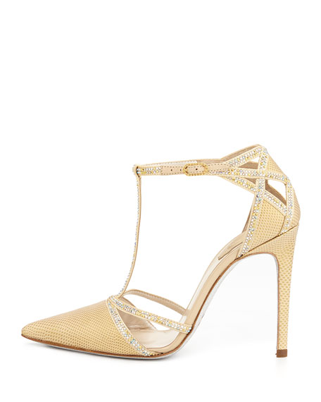 Lizard & Crystal T-Strap Pump, Champagne Gold