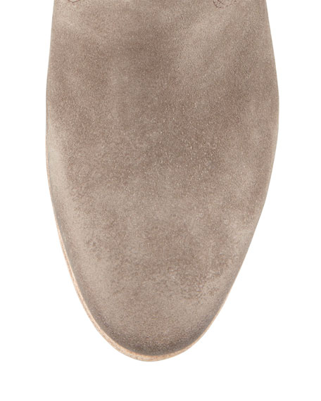 Chiara Slouchy Suede Ankle Boot, Light Gray