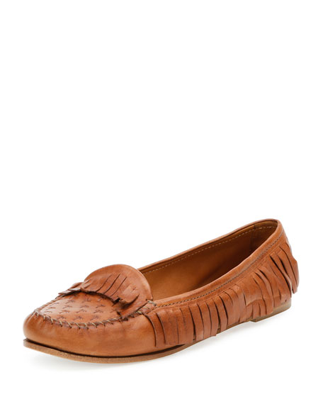 Tomas Maier Leather Fringe Moccasin, Cuir