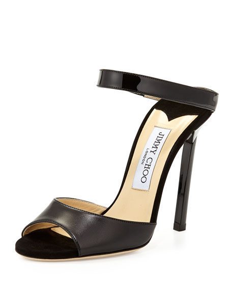 Jimmy Choo Deckle Double-Band Leather Slide, Black