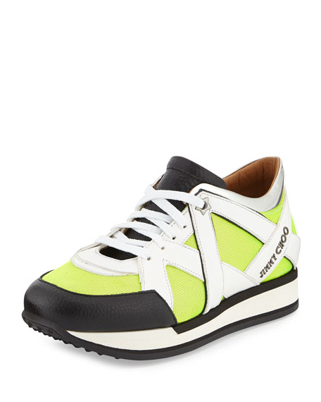 Jimmy Choo London Lace-Up Sneaker, Acid Yellow/White