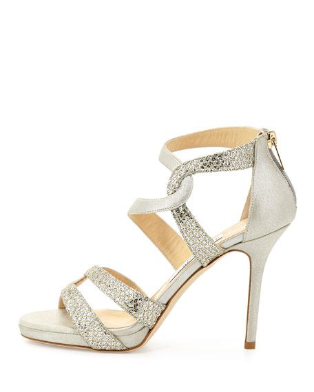 Tomar Strappy Glitter Sandal, Champagne