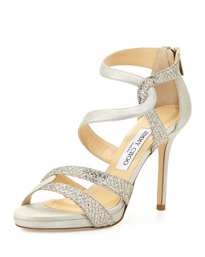 Tomar Strappy Glitter Sandal, Champagne