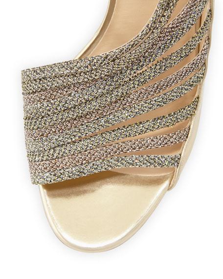 Florry Asymmetric Strappy Sandal, Gold Mix