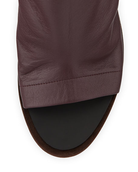 Leather Glove Sandal, Wine