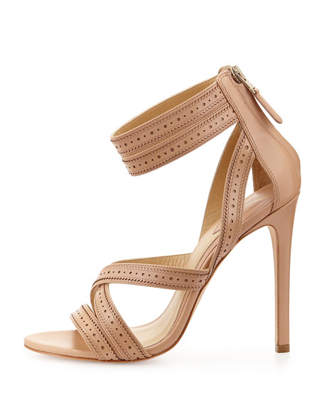 Lucila Perforated Strappy Leather Sandal, Nude