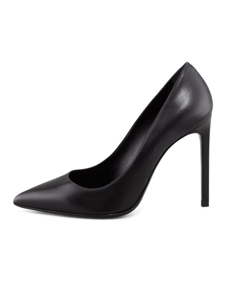 Paris Calfskin Pointed-Toe Pump, Black