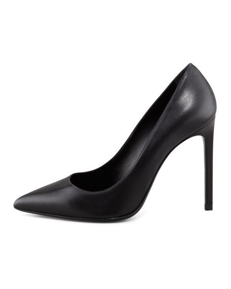 Paris Calfskin Pointed-Toe Pump, Black
