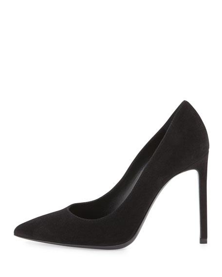 Paris Suede Pointed-Toe Pump, Black