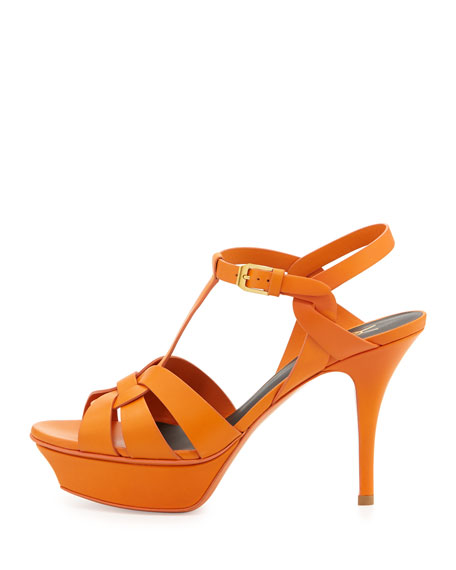 Tribute Mid-Heel Leather Platform Sandal, Orange