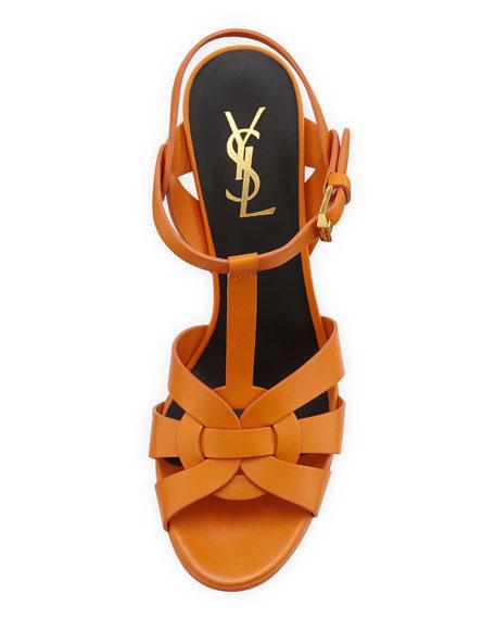 Tribute Mid-Heel Leather Platform Sandal, Orange