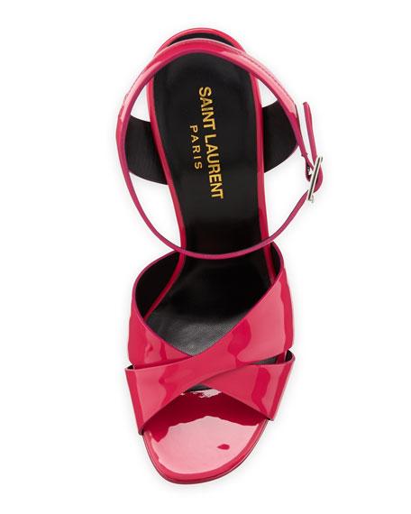 Vitello Vernice Patent Platform Sandal, Fuchsia