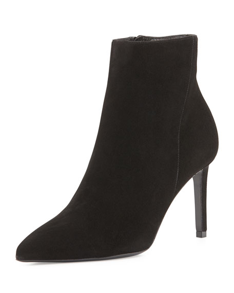 Saint Laurent Suede Side-Zip Bootie, Black