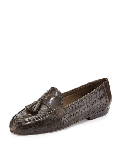 Nedra Woven Tassel Loafer, Dark Tan