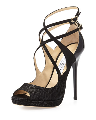 Atlas Leather Crisscross Sandal, Black