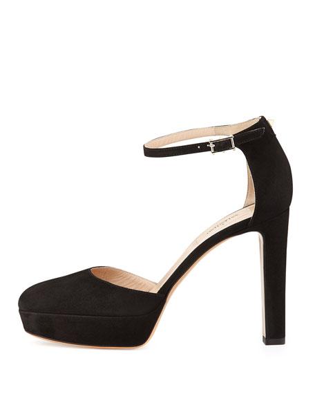 Suede Ankle-Wrap Platform Pump, Black