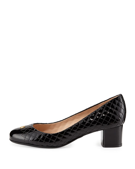 39960373cf39 Tory Burch Kent Patent Quilted Pump