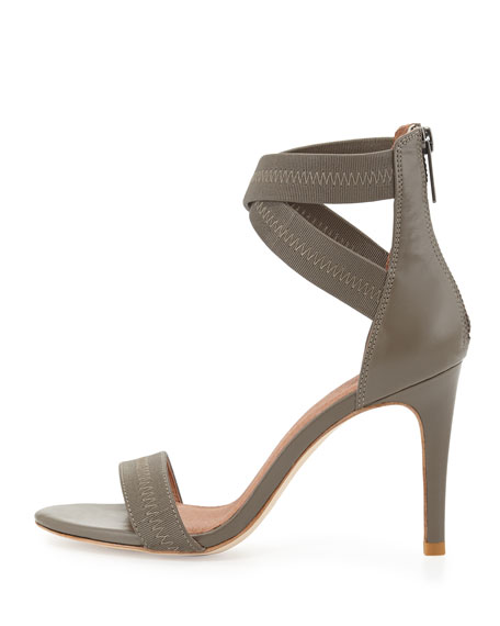 Elaine Elastic Leather Sandal, Light Gray