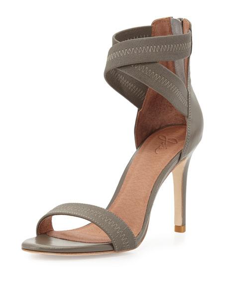 Elaine Elastic Leather Sandal, Light Gray
