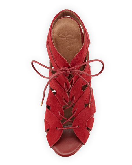 Bonnie Suede Lace-Up Bootie, Red