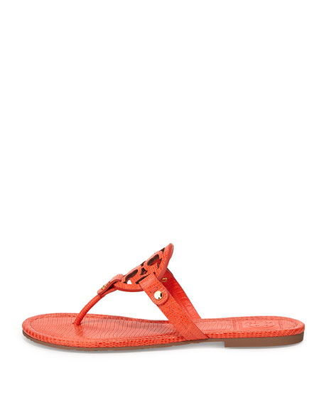 Miller Lizard-Print Logo Thong Sandal, Orange