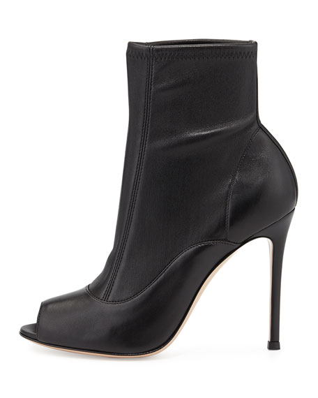 Stretch Leather Peep-Toe Bootie, Black