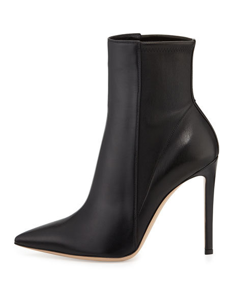 Point-Toe Leather Bootie, Black