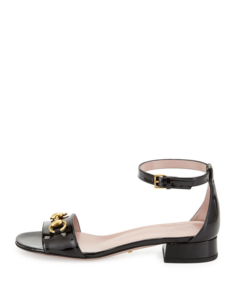 Horsebit Patent Leather Sandal, Black
