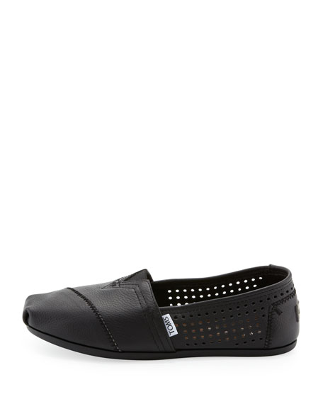 Perforated Leather Slip-On, Black