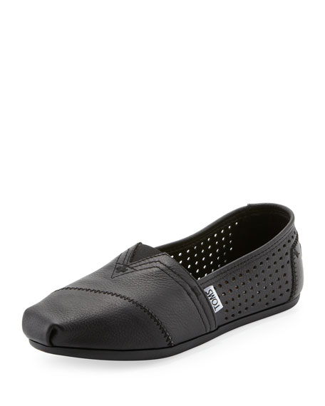 TOMS Perforated Leather Slip-On, Black