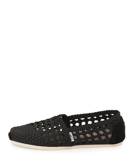 Braided Crochet Satin Slip-On, Black