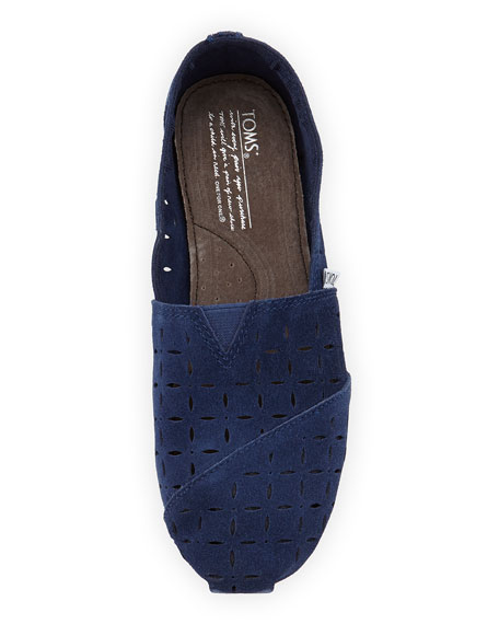 Laser-Cut Suede Slip-On, Navy