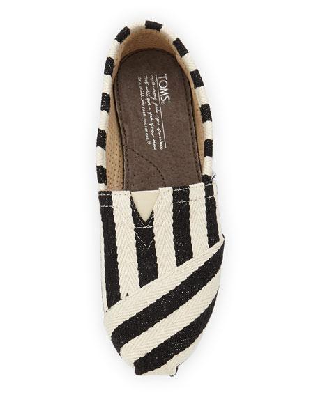 Striped Twill Canvas Slip-On, Black/White