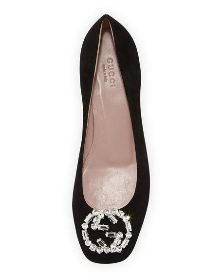 9f22443e8 Gucci GG Sparkling Suede Ballerina Flat, Black | Neiman Marcus