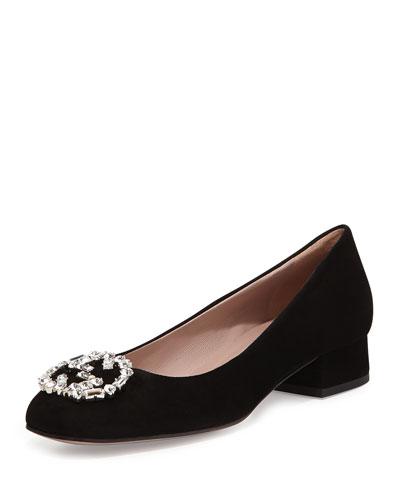 GG Sparkling Suede Ballerina Flat, Black